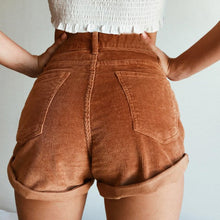 Load image into Gallery viewer, ELASTIC HIGH WAIST CORDUROY SHORTS