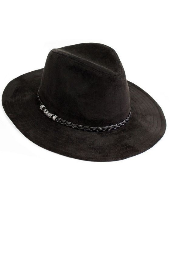 BLACK PANAMA FAUX SUEDE HAT