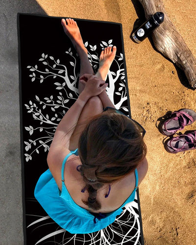 BLACK TREE PRINT PORTABLE SOFT FITNESS YOGA MAT