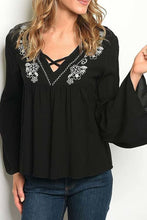 Load image into Gallery viewer, BLACK V NECK EMBROIDERED DETAIL WITH BELL SLEEVES TOP