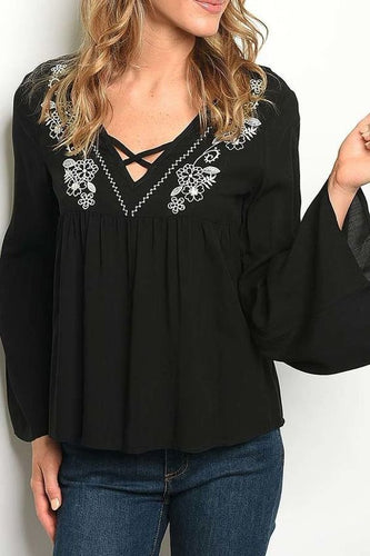 BLACK V NECK EMBROIDERED DETAIL WITH BELL SLEEVES TOP
