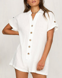 SOLID BUTTON DESIGN SHORT SLEEVE ROMPER