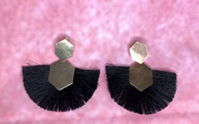 Load image into Gallery viewer, EMPEROR FRINGE STATEMENT EARRINGS - BLACK