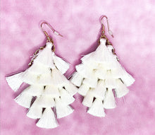 Load image into Gallery viewer, IVORY TASSEL DROP EARRINGS