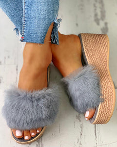 GRAY FLUFFY PLATFORM WEDGE HEELED SANDALS