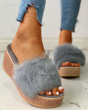Load image into Gallery viewer, GRAY FLUFFY PLATFORM WEDGE HEELED SANDALS