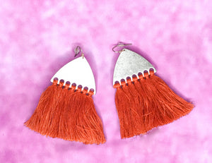 RUST FRINGE ON GOLD EARRINGS