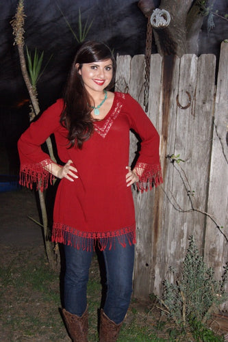 RED HIPPIE CHIC BELL SLEEVE SHIFT DRESS
