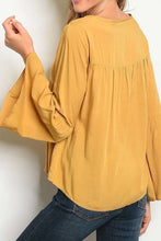 Load image into Gallery viewer, MUSTARD V NECK EMBROIDERED DETAIL WITH BELL SLEEVES TOP