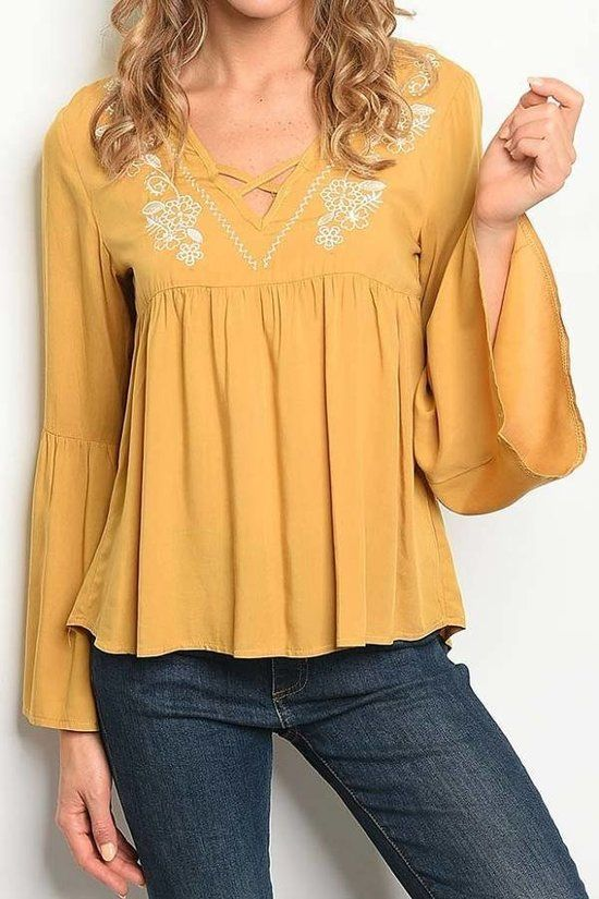 MUSTARD V NECK EMBROIDERED DETAIL WITH BELL SLEEVES TOP