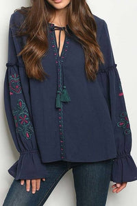 NAVY KEY HOLE EMBROIDERED DETAIL BELL SLEEVE TOP