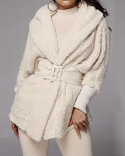 Load image into Gallery viewer, BEIGE FLUFFY HOODED OPEN FRONT TEDDY / COAT & SHORT SET