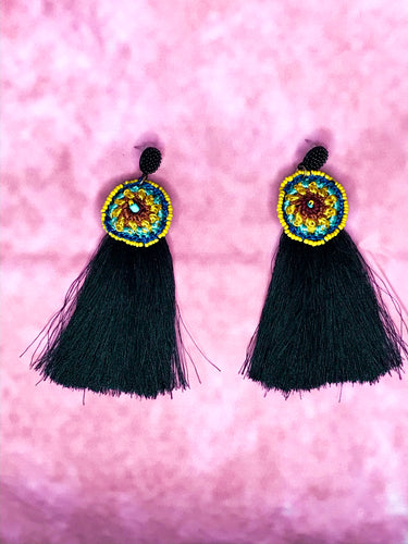 BLACK BOHO LONG TASSEL DANGLE DROP EARRINGS