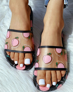 BLACK TRANSPARENT PEACH PATTERN FLAT SANDALS