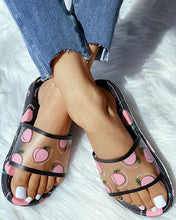 Load image into Gallery viewer, BLACK TRANSPARENT PEACH PATTERN FLAT SANDALS