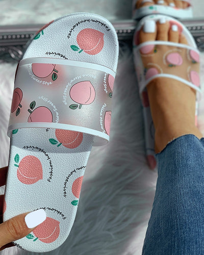 WHITE TRANSPARENT PEACH PATTERN FLAT SANDALS