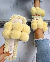 Load image into Gallery viewer, YELLOW POM POM SLIPPERS