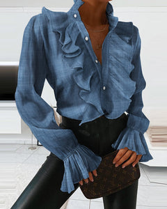 RUCHED RUFFLE PANEL BLOUSE