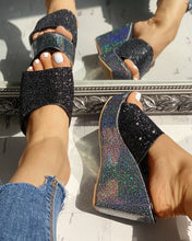 Load image into Gallery viewer, OPEN TOE SEQUINS PLATFORM SANDALS