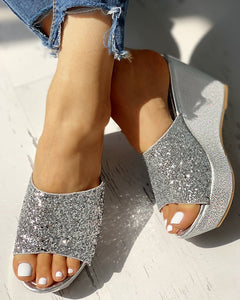 OPEN TOE SEQUINS PLATFORM SANDALS