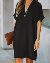 Load image into Gallery viewer, V NECK SHIFT MINI DRESS