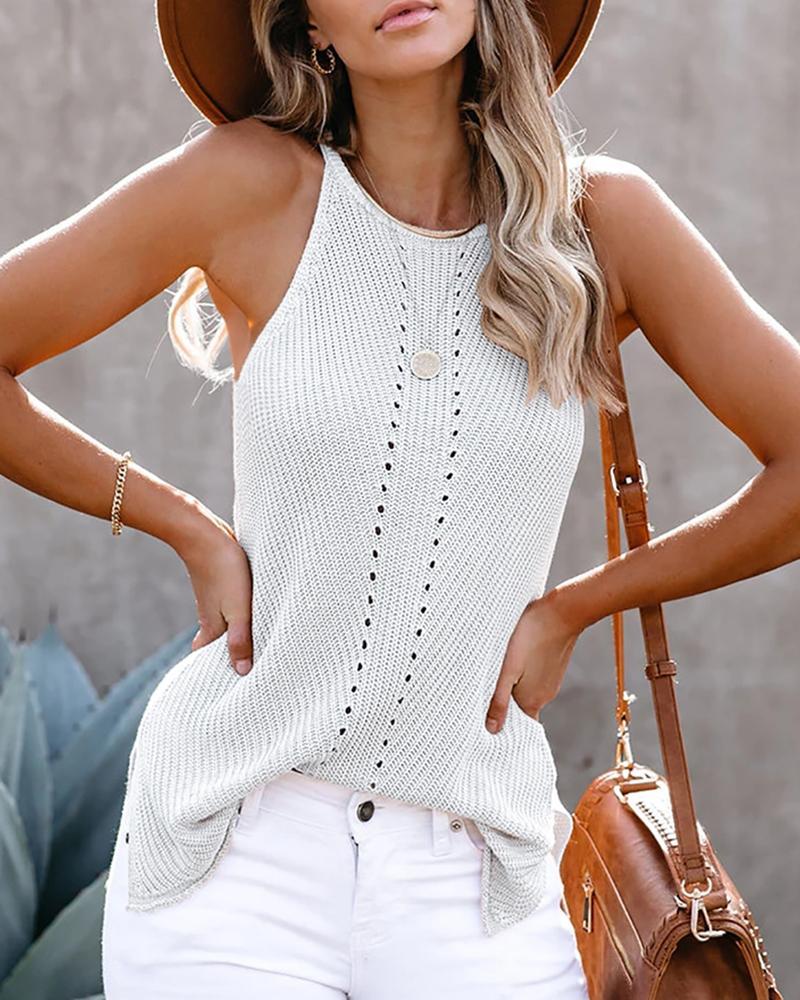 SLEEVELESS HOLLOW OUT SOLID BLOUSE
