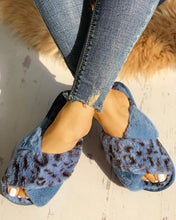 Load image into Gallery viewer, FLUFFY BLUE LEOPARD CRISSCROSS PEEP TOE SLIPPERS