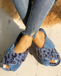 FLUFFY BLUE LEOPARD CRISSCROSS PEEP TOE SLIPPERS