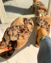 Load image into Gallery viewer, FLUFFY BROWN LEOPARD CRISSCROSS PEEP TOE SLIPPERS