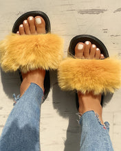 Load image into Gallery viewer, YELLOW PEEP TOE POOFY FLIP FLOPS