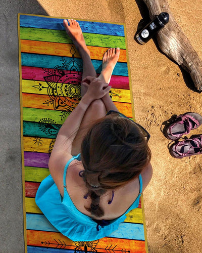 COLORFUL STRIPED PRINT PORTABLE SOFT FITNESS YOGA MAT