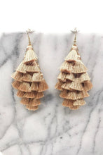 Load image into Gallery viewer, BEIGE TASSEL DROP EARRINGS