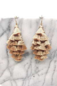 BEIGE TASSEL DROP EARRINGS