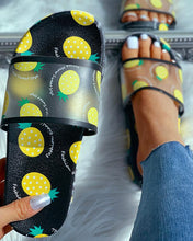 Load image into Gallery viewer, BLACK TRANSPARENT PINEAPPLE PATTERN FLAT SANDALS