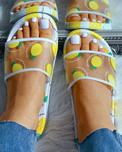Load image into Gallery viewer, WHITE TRANSPARENT PINEAPPLE PATTERN FLAT SANDALS