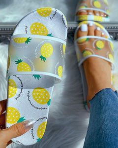 WHITE TRANSPARENT PINEAPPLE PATTERN FLAT SANDALS