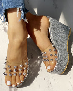 SILVER TRANSPARENT RIVET DETAIL PLATFORM WEDGE SANDALS