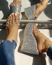 Load image into Gallery viewer, SILVER TRANSPARENT RIVET DETAIL PLATFORM WEDGE SANDALS