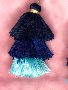 BOHEMIA LAYERED TASSEL BLUE HUE EARRINGS