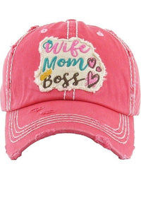 FUCHSIA WIFE, MOM, BOSS BALL CAP