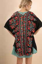 Load image into Gallery viewer, Black Short Sleeve Open Front Kimono with Multicolored Embroidery