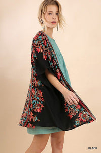 BLACK SHORT SLEEVE OPEN FRONT KIMONO WITH MULTICOLORED EMBROIDERY