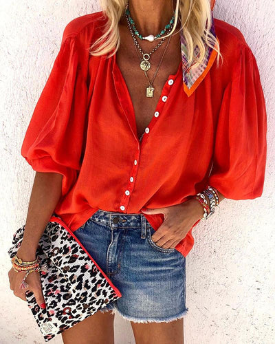 Red V-NECK HALF SLEEVE CASUAL SHIRT