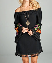 Load image into Gallery viewer, BLACK OFF-SHOULDER DRESS/TUNIC WITH EMBRIODERY ON SLEEVE
