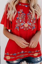 Load image into Gallery viewer, TOMATO RED COLORFUL EMBROIDERED TOP