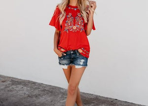 TOMATO RED COLORFUL EMBROIDERED TOP