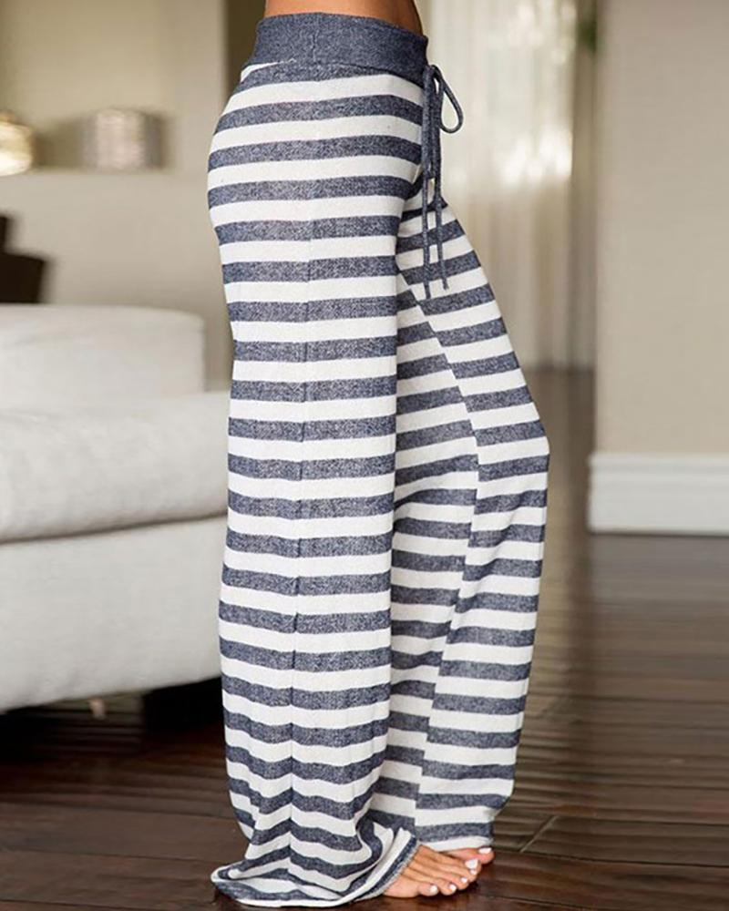 STRIPED HIGH WAIST DRAWSTRING PANTS