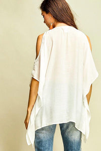 WHITE GORGEOUS EMBROIDERED COLD SHOULDER TOP