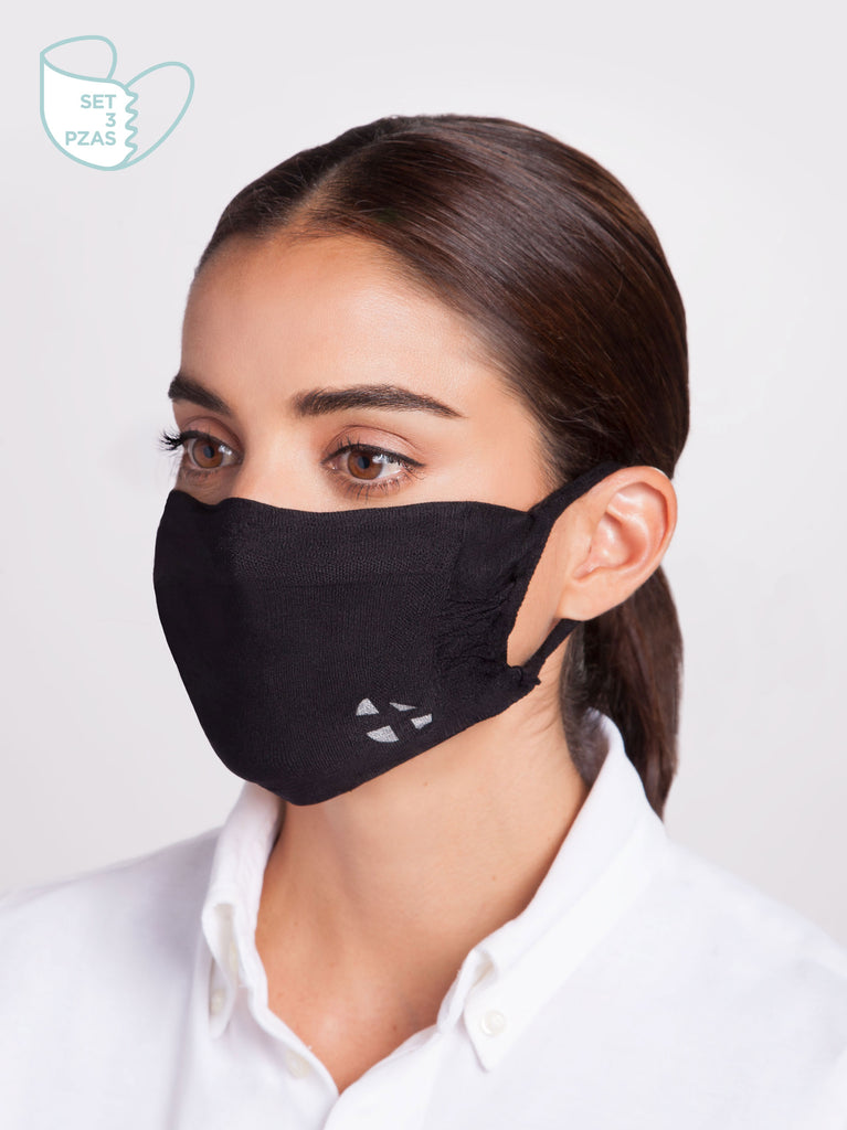 Set 3 Pzas. Mascarilla Inteligente Antibacterial Lavable - Black Shield DT Console