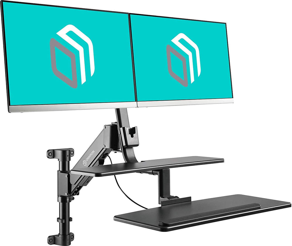"ONKRON sit-stand Workstation with Single and Dual Monitor Mounts for 17"" - 27 Inch Monitors hight adjustable W5GD"